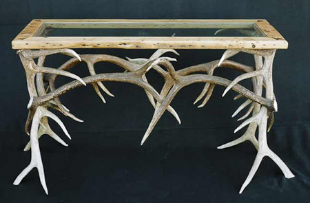 Elk antler and glass sofa table image