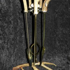 Fireplace tools with antler handles and antler stand image