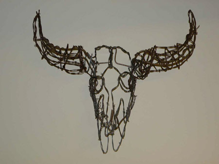 Bison skull wire sculpture image