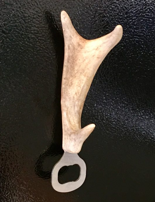 White tail deer antler bottle opener with magnet