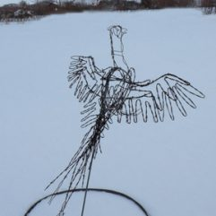Flying pheasant wire sculpture image