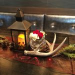 Antler-juniper center piece for winter montana wedding