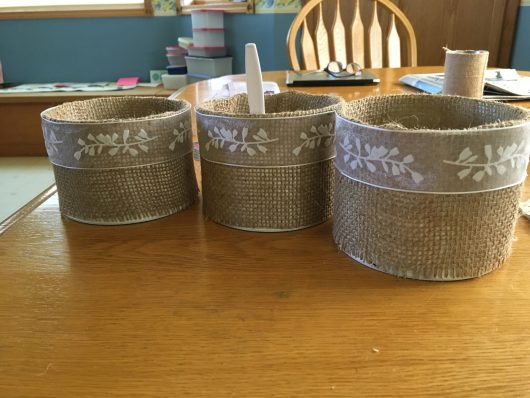 Burlap Cans for rustic montana wedding rentals
