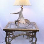 Moose antler lamp for sale and elk antler end table for sale