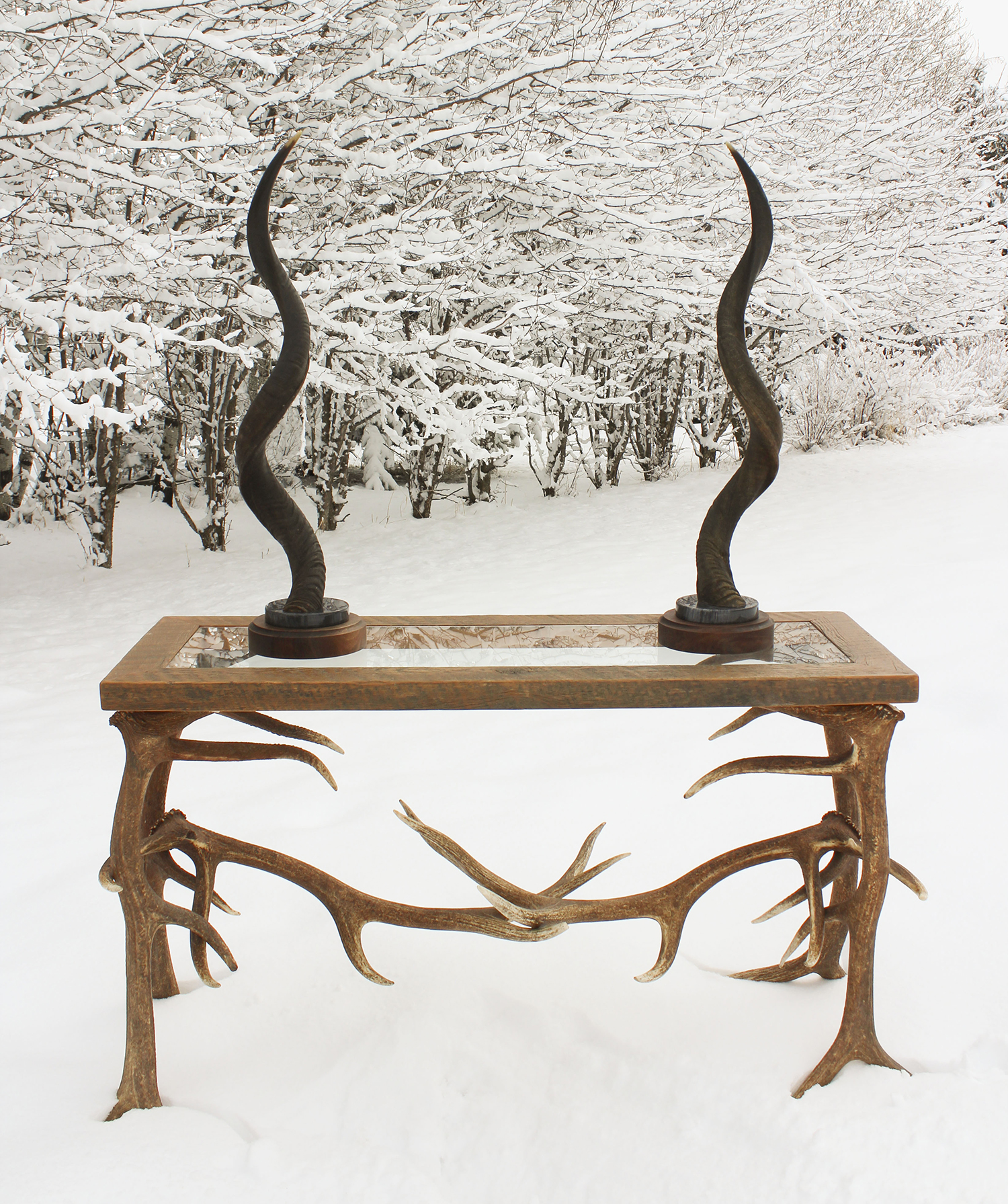 Kudo Horn mounted on marble and wooden base for sale with elk sofa table