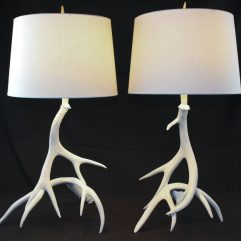 Mule Deer antler table lamp pair for sale