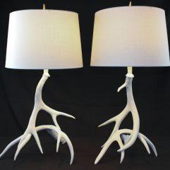 Mule Deer antler table lamp pair for sale