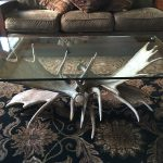 Custom made Moose antler and glass Coffee Table