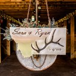 Custom metal and chain sign for montana hunter wedding