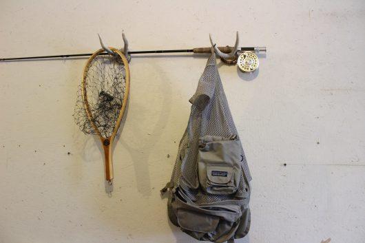 antler fishing rod rack