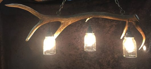 antler mason jar light