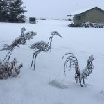 wire art in the snow