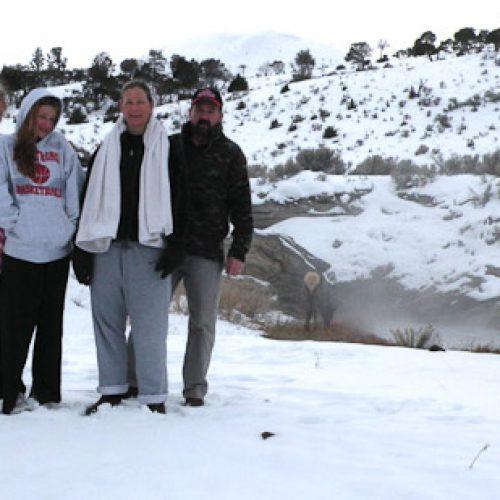 The Mackie family at the Hot Pots near Yellowstone